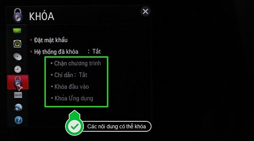 bật chế độ khóa an toàn trên tivi thông minh LG hệ điều hành netcast